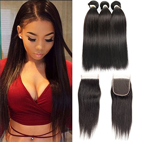 - FASHION QUEEN Hair Straight Weave 7A Brazilian Virgin Hair 3 Bundles with Lace Closure Free Part Mixed Size Length Perfect for Natural Color Hair Weft(18 20 22+14)
