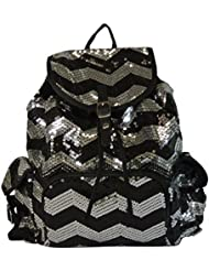 Chevron Backpack Zigzag Print Purse Sequined Book Bag Handbag