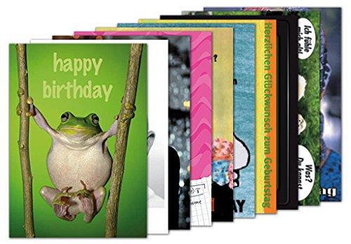 10er-Set: Postkarten A6 +++ MIX SET Nr. 1 von modern times +++ 10 TIERISCH LUSTIGE GEBURTSTAGS-Motive +++