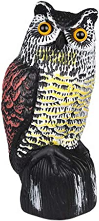 Julvie - Figura Decorativa de búho, espantapájaros de jardín, Repelente de pájaros, Falsa Estatua de búho para asustar a los pájaros para Patio y jardín: Amazon.es: Hogar