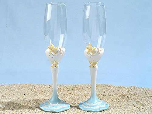 Starfish beach theme Toasting glasses set (Flutes Toasting Reception)