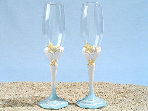 Starfish beach theme Toasting glasses set (Reception Flutes Toasting)