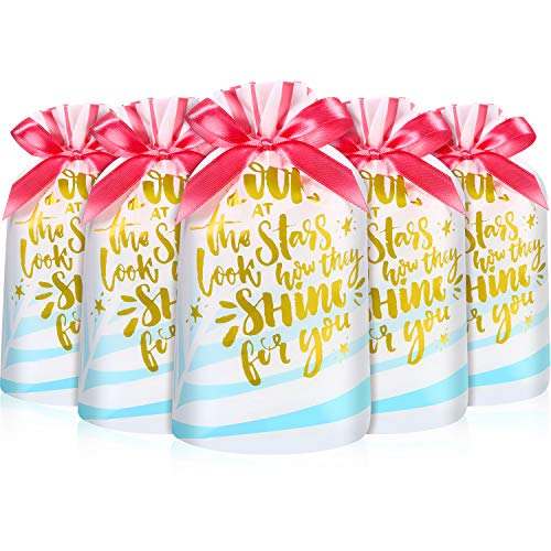 Frienda 30 Packs Treat Bags with Drawstring Candy Bags, Plastic Favor Bag Drawstring Cookie Bags for Christmas Wedding Party Birthday Engagement Holiday Favor (Gold Lettering Print)