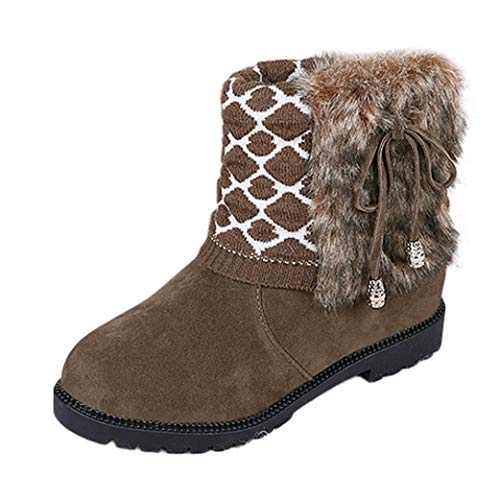 (Women's Snow Booties,Winter Warm Bowtie Flat Platform Shoes Faux Fur Lined Round Toe Boots (Khaki, US:7))