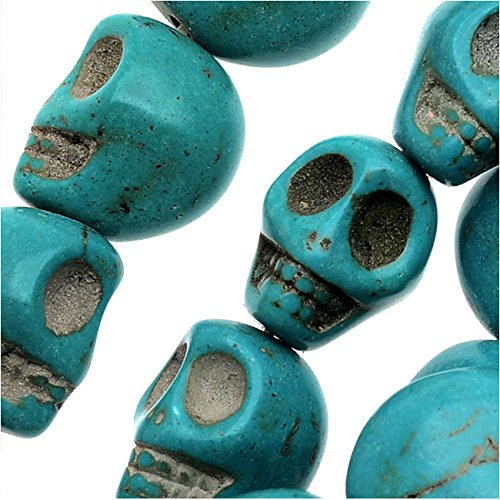 (Dyed Magnesite Gemstone Beads, 13mm Mini Skulls 15