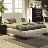 Coaster Home Furnishings  Phoenix Modern Transitional Sleigh Headboard Round Profile Upholstered Bed - Eastern King - Beige Fabric/Cappuccino