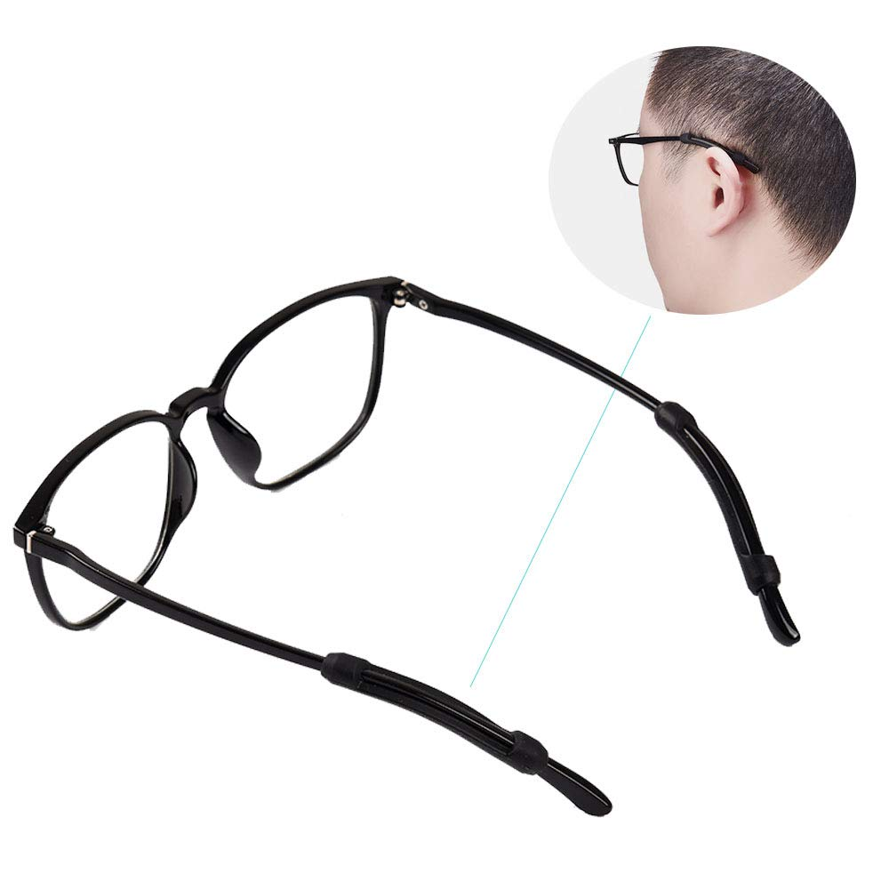 10 Pairs Eyeglass Strap Holder-Silicone Glasses Ear Hooks, Anti-Slip Elastic Comfort Glasses Retainers for Spectacle Sunglasses, Reading Glasses, Sports Eyeglass, Black&Clear