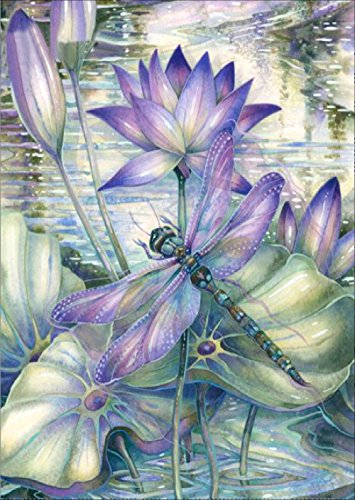 DIY 5D Diamond Painting by Number Kits, Full Drill Crystal Rhinestone Embroidery Pictures Arts Craft for Home Wall Decor Gift (Purple Lotus, 11.8 x 15 Inch)