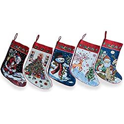 "BestPysanky 18"" Set of 5 Santa, Snowman, Reindeer & Tree Christmas Stockings"