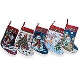 BestPysanky 18'' Set of 5 Santa, Snowman, Reindeer & Tree Christmas Stockings