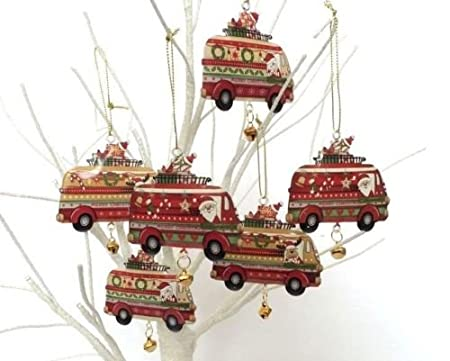 set of 6 metal camper van truck christmas tree decorations vintage retro style