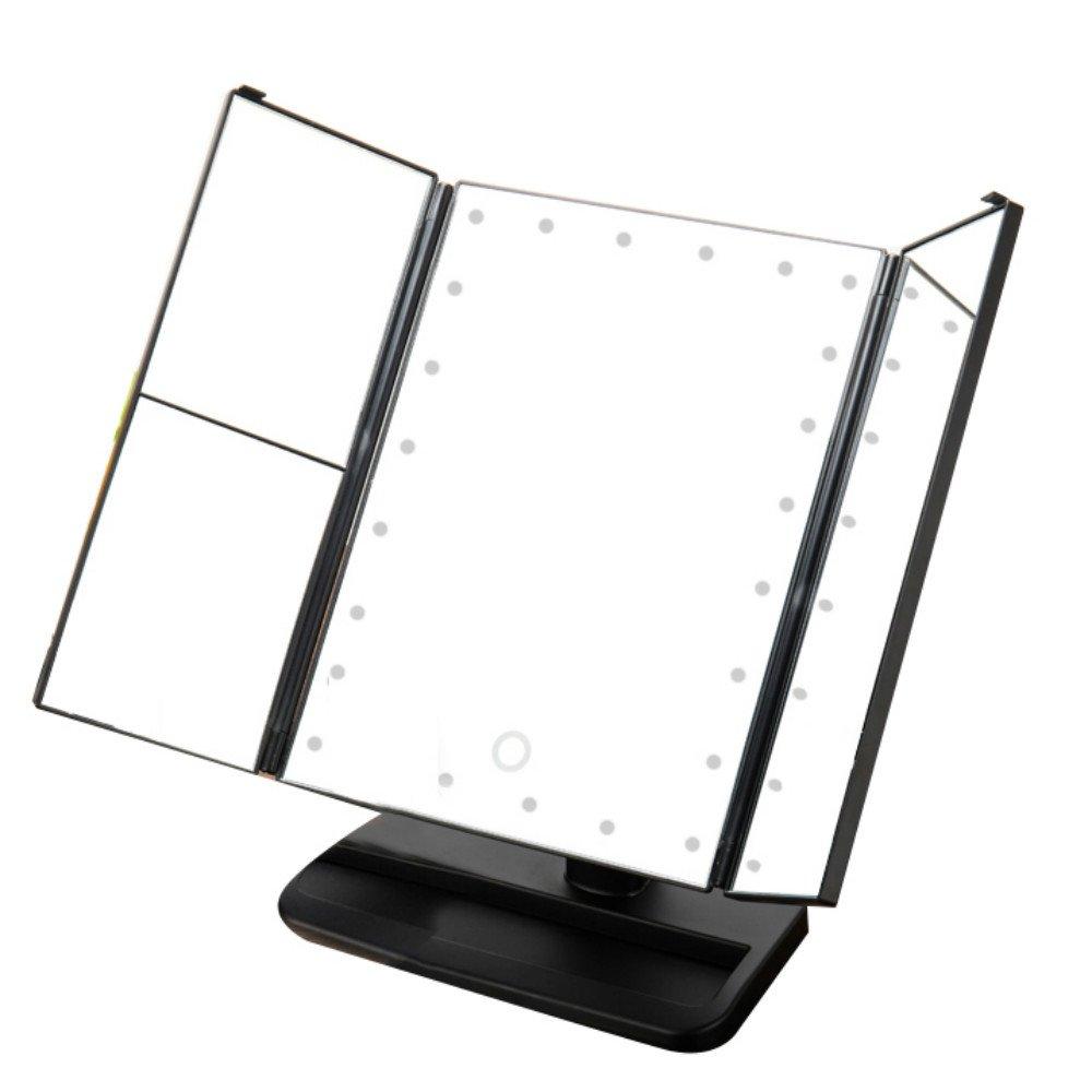 vinmax Tri-Fold Lighted Vanity Makeup Mirror,Portable Table LED Lamp Luminous Makeup Mirror Adjustable Tabletop Countertop Light Mirror(Black)