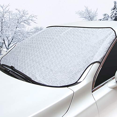 BUG HULL Windshield Snow Cover, Car Snow Cover, Dual Layer Design for Anti Snow/Ice / Frost/Rain, Fits Most Car and SUV (57 x 40)
