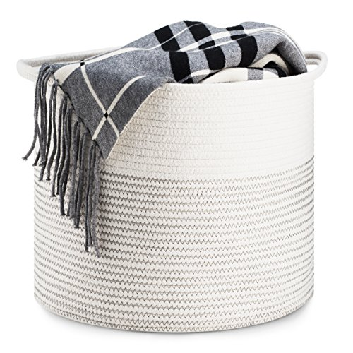 51 obwn843L - Cotton Rope Collapsible Basket with Handles