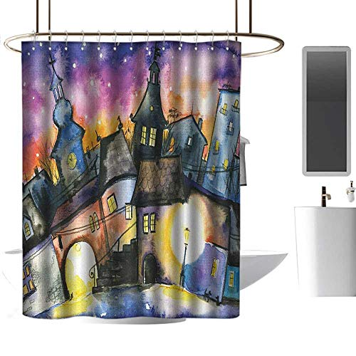 homehot Shower Curtains for Bathroom map Abstract,Funky Watercolors Paint Small Town Weird Angles at Night Light Reflections Mist Image,Multi,W108 x L72,Shower Curtain for -