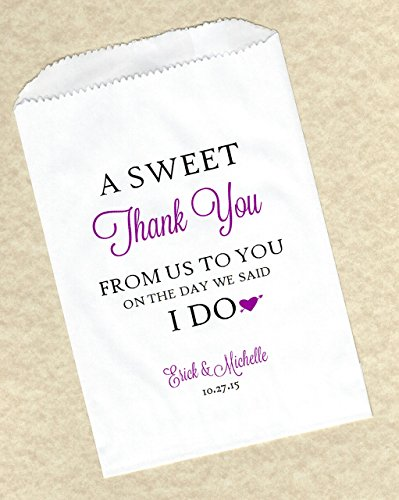 Sweet Thank You Personalized Wedding Candy Buffet Cake Party Favor Bags - Custom wedding cake bags - Sweet Thank You - Set of 50 bags -