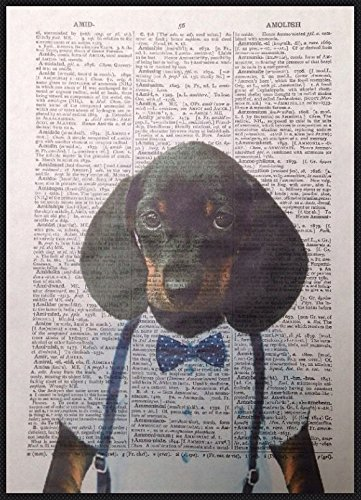 bassotto stampa vintage Dictionary page Wall Art immagine Sausage Dog hipster animali buffi Dog Funky Quirky umanizzato homemade