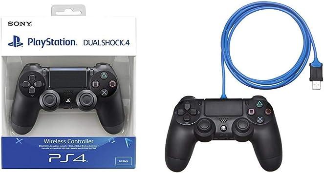 Sony - Dualshock 4 V2 Mando Inalámbrico, Color Negro V2 (PS4) & AmazonBasics - Cable de carga para mando de PlayStation 4: Amazon.es: Videojuegos