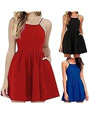 Hansair Women Slip Dress Spaghetti Strap Floral Print Beach Style Skater A Line Mini Dress