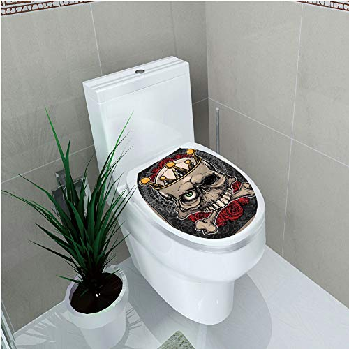 Toilet Cover Decoration,Gothic Decor,Skull with Crown Roses Bones Dead King Halloween Illustration,Tan Marigold Dark Grey red,3D Printing,W12.6