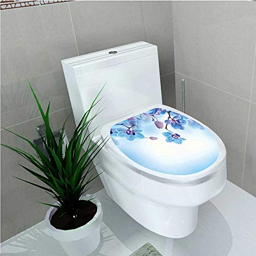 - aolankaili Bathroom Toilet seat Sticker Decal Orchids Asian Natural Flowers Reflections on Water for Spring Calming Art Blue and W14 x L14
