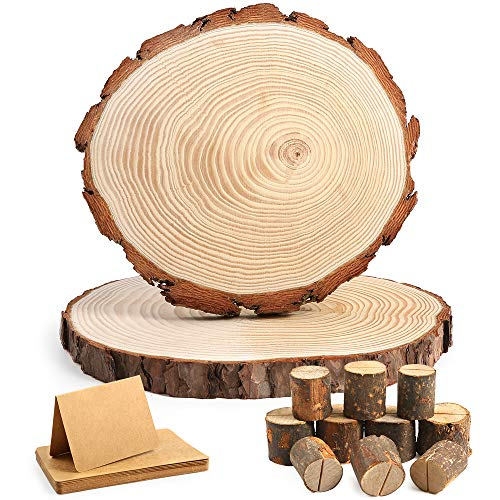 Caydo 2 Pieces 9-11 Inch Large Pine Natural Round Wood Slices with Rustic Wood Table Numbers Holder and Kraft Place Cards for Wedding Centerpiece, Table Chargers or Wedding Decoration ()