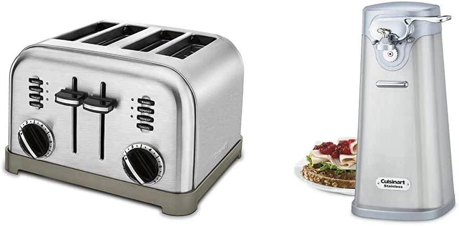 Cuisinart CPT-180P1 Metal Classic 4-Slice toaster, Brushed Stainless & SCO-60 Deluxe Stainless Steel Can Opener