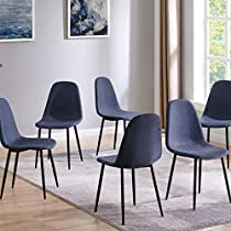 IDS Home Clear Glass Dining Table and Dark Gray Chair Set, Kitchen Dining Room Furniture Rust Resistant Metal Leg Frame (6 Chairs, Dark Grey)
