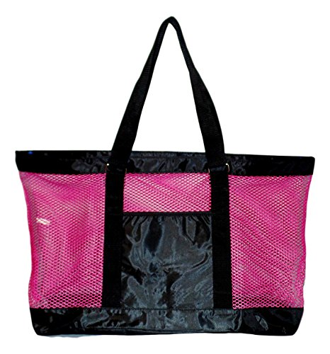 Super Large Mesh Tote Beach Bag - 24 x 15 x 6 - Can be Personalized (Blank Pink/Black)