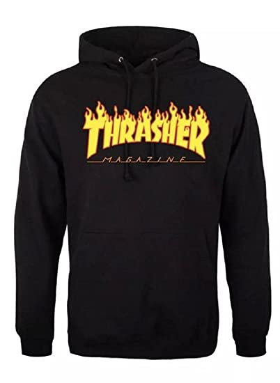 f1f9a668c8cc Amazon.com  Men Thrasher Mag Flame Hoody Jacket -Diy   Custom Pullover 2017  Hip-Hop Large Black  Sports   Outdoors