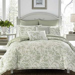 Laura Ashley Natalie Bonus Comforter Set, Twin, Sage Green by Revman International