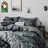 VClife Geometric Duvet Cover Sets Twin Boys Girls Bedding Sets, Checkered Children Teens Bedding Quilt Cover Sets, Gray White Reversible Pattern, Zipper Closure & Corner Ties, Twin