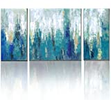 3Hdeko - Teal Abstract Wall Art Aqua Blue Painting Print on Canvas for Living Room Bedroom Kitchen Home Bathroom Modern 3 Pieces Wall Decor