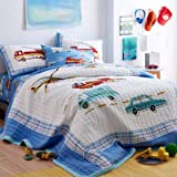 CribMATE 100% Cotton Real Patchwork Car Theme Quilted Bedspread Set 3 PCs Quilted Coverlet Set for Toddler Boy Kids Boy 90 x 90 Inches Queen Size Little Boy Gift Idea