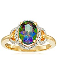 Sterling Silver with Yellow Gold Plating Mystic Fire Topaz and Diamond Oval Ring (1/10cttw, I-J Color, I3 Clarity), Size 7