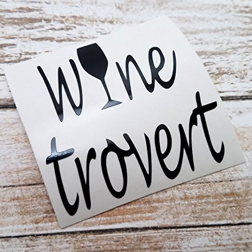 [Winetrovert Vinyl Decal Sticker for Wine Lovers for use on YETI RTIC Tumbler Mug Laptop] (Group Costumes For 3 Guys)