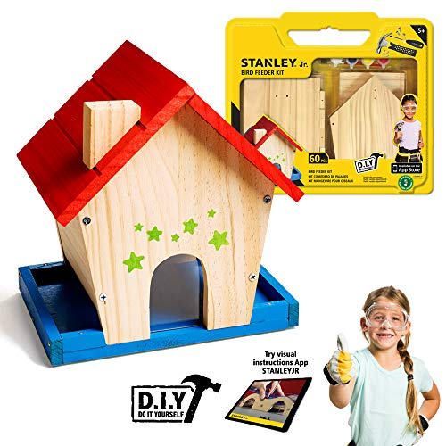 Stanley Jr Bird Feeder Kits For Kids And Adults - DIY Bird Feeder Kit - Paint-A-Birdhouse Kit - Wood Bird Feeders - Paint & Brushes Included