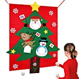 """AerWo Christmas Party Games for Kids Santa Christmas Toss Games with 3 Snowballs, Perfect Family Christmas Games for Holiday (38"""" X 51"""")"""