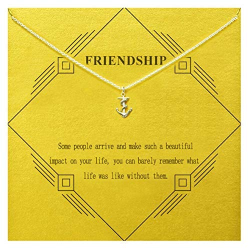 Gray Camel Friendship Anchor Necklace Graduation Gift Necklace Daughter Gift with Message Card Gift Card for Women Girls (Sliver Anchor)