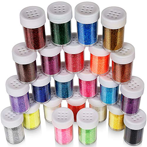 Glitter Extra Fine - Fine Glitter Set 20g, Teenitor 24pcs Glitter Shake Jars for Art Crafts Painting Scrapbooking Body Slime Holiday Party Supply, Multi Color Assorted Set