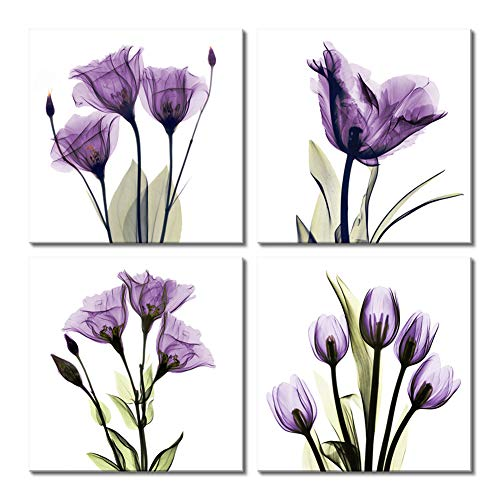 (Picabala Vivid Purple Tulip Flower Wall Art Canvas Painting Elegant Modern Framed and Stretched Picture Photo Giclee Print on Canvas Artworks for Home Office Decoration 12x12in-A)