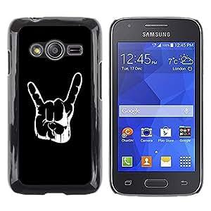 TopCaseStore / la caja del caucho duro de la cubierta de protección de la piel - Cool Awesome Rock Hand Sign - Samsung Galaxy Ace 4 G313 SM-G313F
