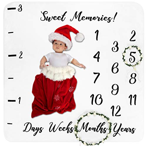 Baby Monthly Milestone Blanket with 2 Floral Wreaths | Premium Soft Fleece | Large 47 x 47 Photo Backdrop | Perfect Shower Gift or Photography Prop for Baby Boy or Girl