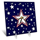 3dRose Alexis Design - America - Fifty Stars Of Freedom. Large three color star, white stars on blue - 6x6 Desk Clock (dc_288370_1)