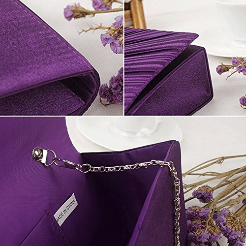 Diamond Pleated Handbag Clutch Jane Black Purse AiSi Prom Ladies Satin Bag Black Womens Evening Bridal qAqXwI