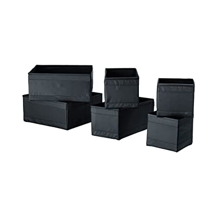 Ikea Drawer Storage Organizer Closet Box Bins Skubb (6 Pack) Black