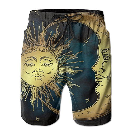 Lyons Antique Prints (Richard-L Sacred Moon And Sun In Antique Style Lunar Myth Astrology Summer Quick Dry Board/Beach Shorts For Men XL)