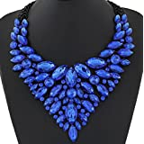 style11 blue - Women Fashion Pendant Crystal Flower Choker Chunky Statement Chain Bib Necklace