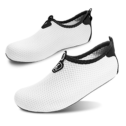Piel Puro Agua Unisex descalza Swim Zapatos Zapatos de Yoga Run Surf Blanco Beach Run L Dive para de wqTH0x