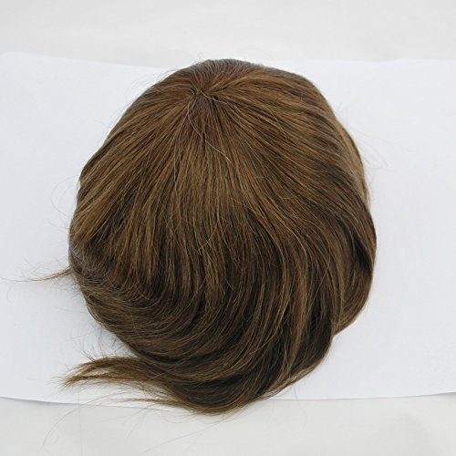 Clearance Medium Brown #4 Toupee Hair System Hair Replacement All Super Fine Swiss Lace by Suncolor Hair